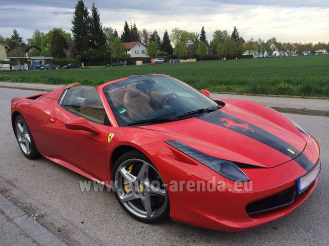 Hire and delivery to Amsterdam Airport Schiphol the car Ferrari 458 Italia Spider Cabrio