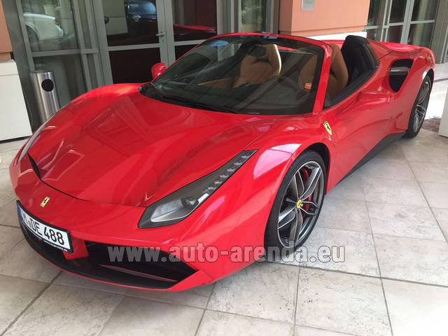 Hire and delivery to Rotterdam The Hague Airport the car Ferrari 488 GTB Spider Cabrio