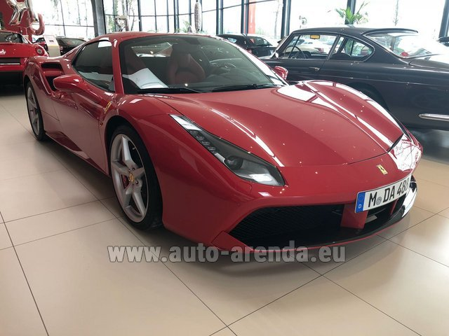 Hire and delivery to Amsterdam Airport Schiphol the car Ferrari 488 Spider