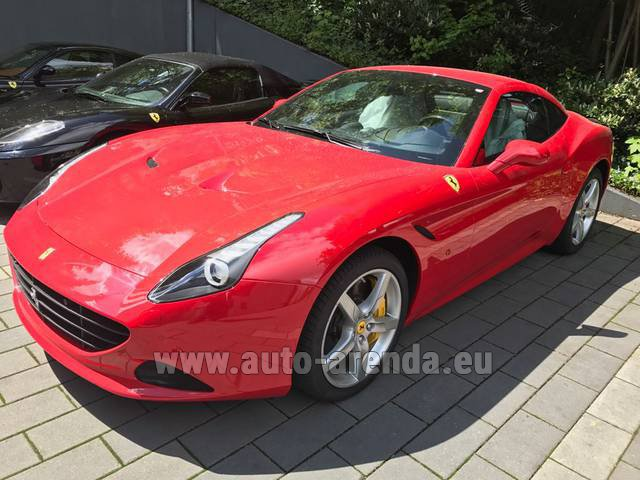 Hire and delivery to Rotterdam The Hague Airport the car Ferrari California T Cabrio (Red)