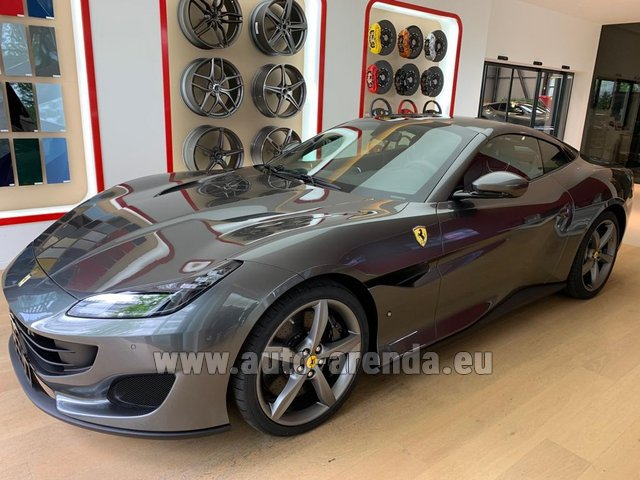 Hire and delivery to Rotterdam The Hague Airport the car Ferrari Portofino