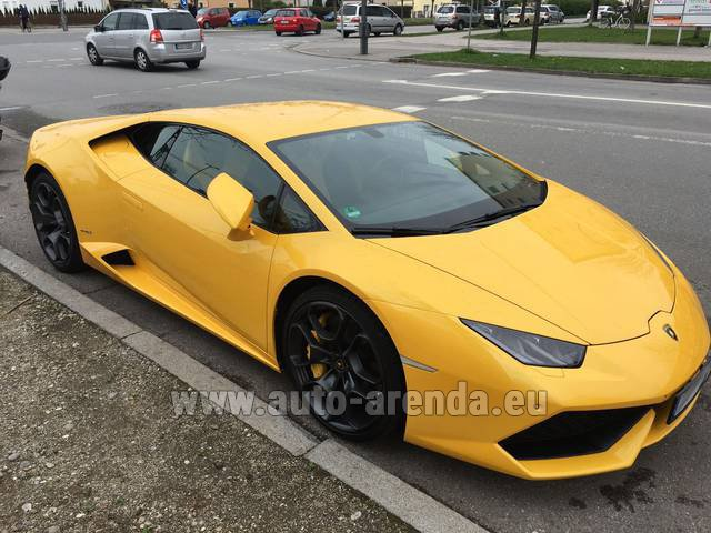 Hire and delivery to Amsterdam Airport Schiphol the car Lamborghini Huracan LP 610-4 Yellow