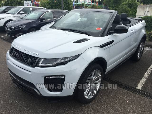 Hire and delivery to Rotterdam The Hague Airport the car Land Rover Range Rover Evoque HSE Cabrio SD4 Aut. Dynamic