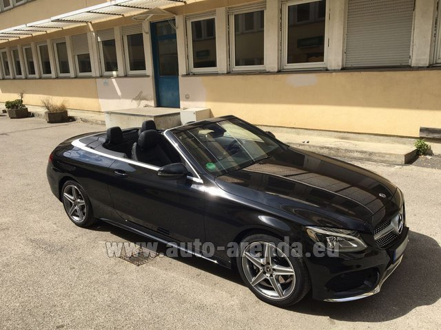 Hire and delivery to Rotterdam The Hague Airport the car Mercedes-Benz C 180 Cabrio AMG Equipment Black