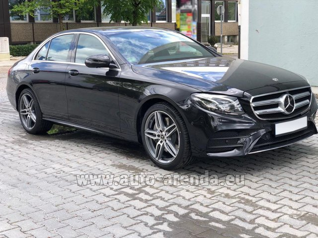 Hire and delivery to Amsterdam Airport Schiphol the car Mercedes-Benz E 450 4MATIC saloon AMG equipment