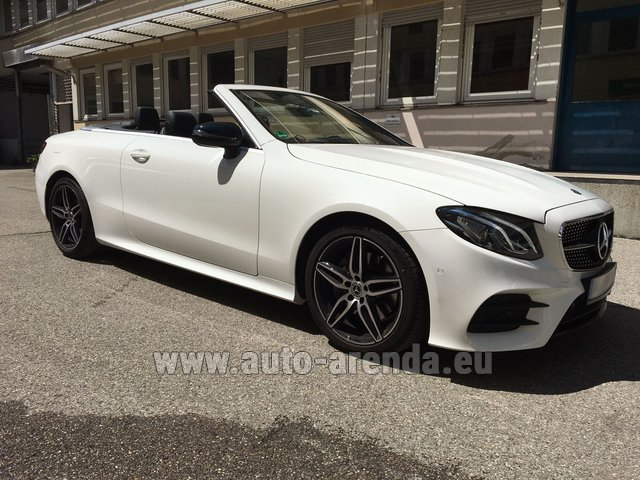 Hire and delivery to Rotterdam The Hague Airport the car Mercedes-Benz E-Class E 200 Cabrio equipment AMG