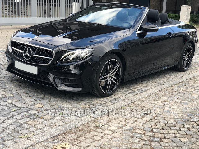 Hire and delivery to Rotterdam The Hague Airport the car Mercedes-Benz E-Class E220d Cabriolet AMG equipment