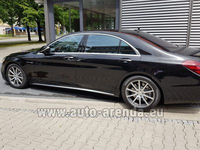 Mercedes S63 AMG Long 4MATIC car for transfers from airports and cities in Germany and Europe.