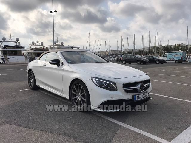 Hire and delivery to Rotterdam The Hague Airport the car Mercedes-Benz S 63 Cabrio AMG