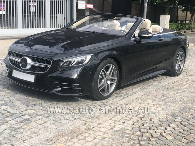 Hire and delivery to Rotterdam The Hague Airport the car Mercedes-Benz S-Class S 560 Cabriolet 4Matic AMG equipment