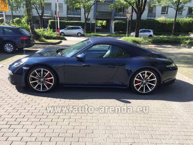 Hire and delivery to Amsterdam Airport Schiphol the car Porsche 911 Carrera 4S Cabriolet