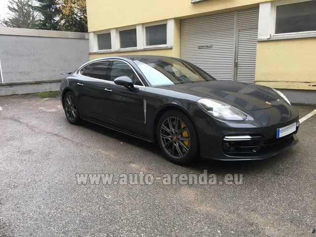 Hire and delivery to Amsterdam Airport Schiphol the car Porsche Panamera Turbo Executive
