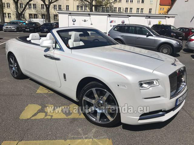 Hire and delivery to Rotterdam The Hague Airport the car Rolls-Royce Dawn (White)