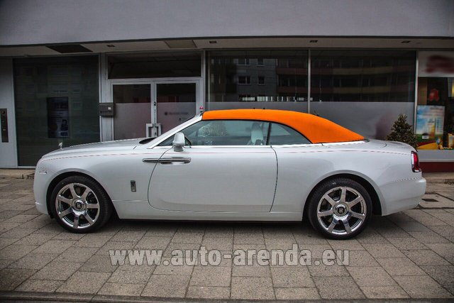 Hire and delivery to Rotterdam The Hague Airport the car Rolls-Royce Dawn White